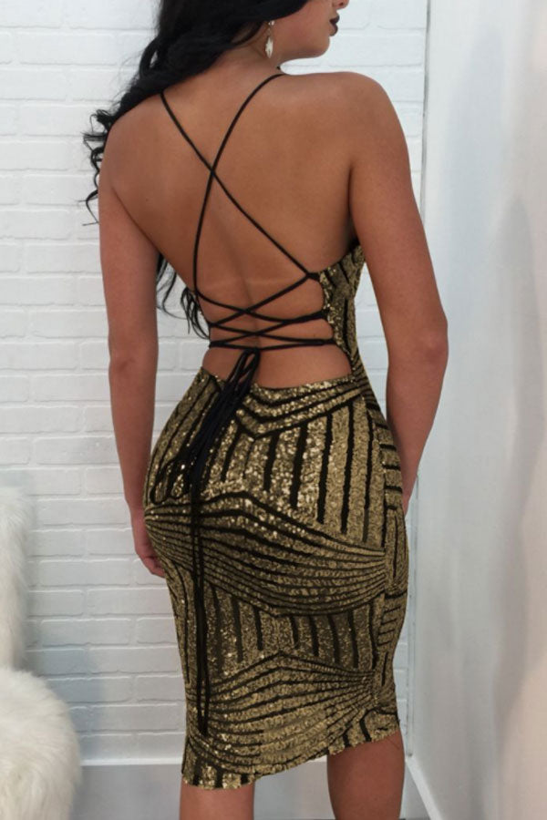 Modishshe Open Back Sexy Sequined Strappy Dress