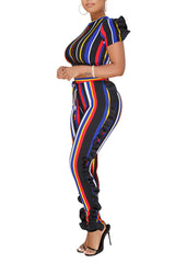Modishshe Vertical Striped Two-Piece Set