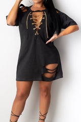 Fashion Solid Color Loose Broken Hole Dress