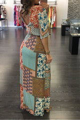 Modishshe Printed Bohemia Chiffon Maxi Dress