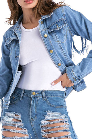 Modishshe Long Sleeves Tassel Denim Jacket