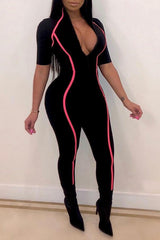 Modishshe Casual Zipper Design Jumpsuit