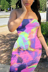 Tie-dye Stripe Strapless Bodycon Dress
