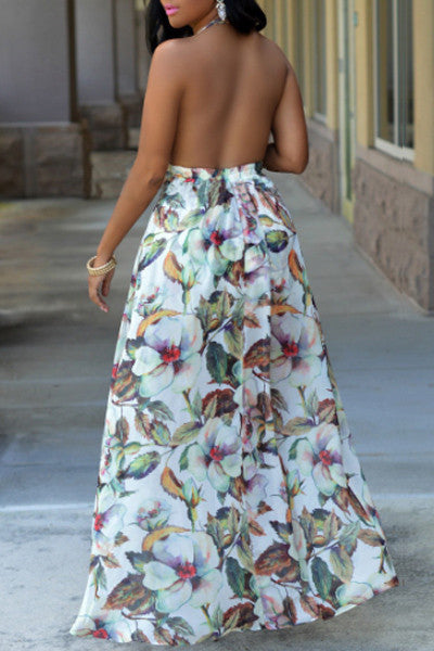 Modishshe Stylish Women Backless Flower Print Maxi Dress