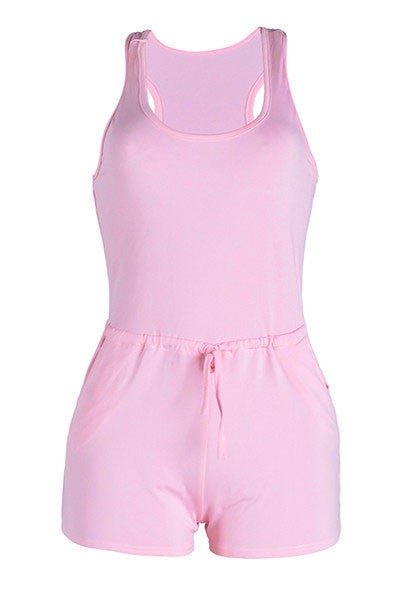 Modishshe Sleeveless Pink Romper