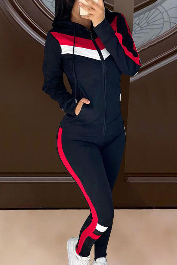 Fashion Colorblock Casual Sport Two-piece Set