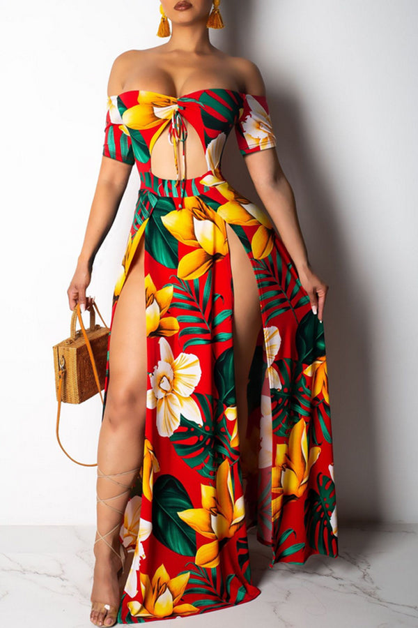 Modishshe Off The Shoulder  Printed Maxi Dress