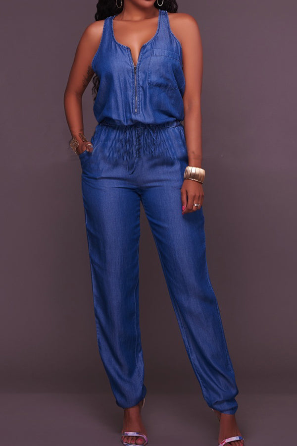 Modishshe Broad Leg Cowboy With Belt Jumpsuits