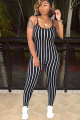 3 Colors Stripe Print Strappy Jumpsuits