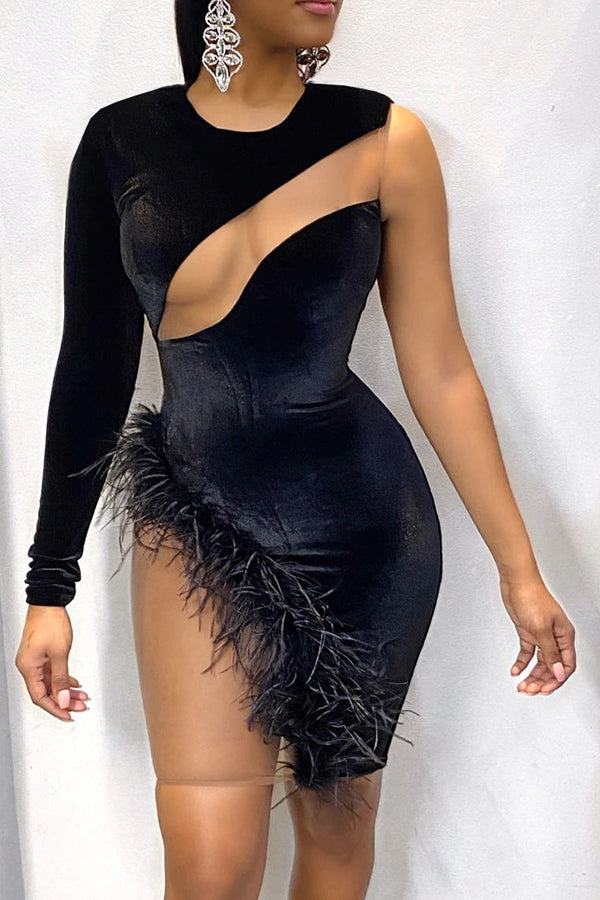 Sexy Feather Mesh Patchwork Irregular Dress