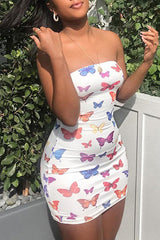 Off The Shoulder Butterfly Print Dress