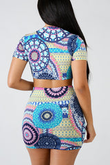 Sexy Print Short Sleeve Two-piece Set