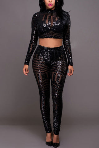 Modishshe Long Sleeved Sequined Two-piece Outfits