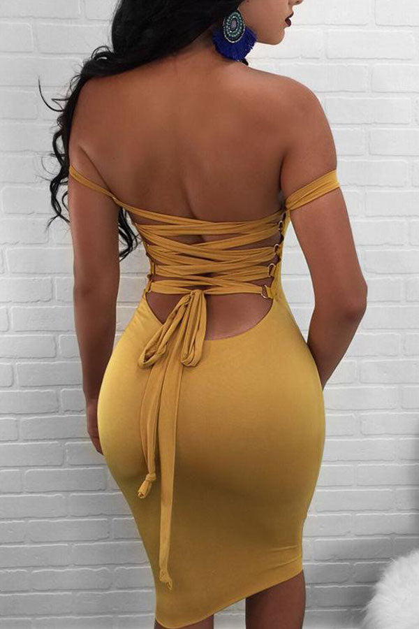 Modishshe Lace up back Tube Skinny Dress