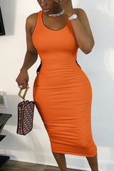 Sexy Slim Solid Color Round Neck Dress