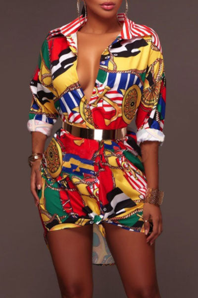 Modishshe Printed Half Sleeves Short Dress