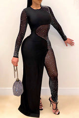 Sexy Solid Color Long Sleeve Patchwork Jumpsuit