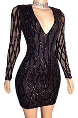 Deep V-neck Sexy Tight Hips Geometric Sequins Dress