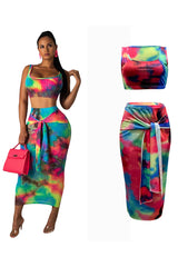 Fashion Casual Sexy Printed Vest Two-piece Dress