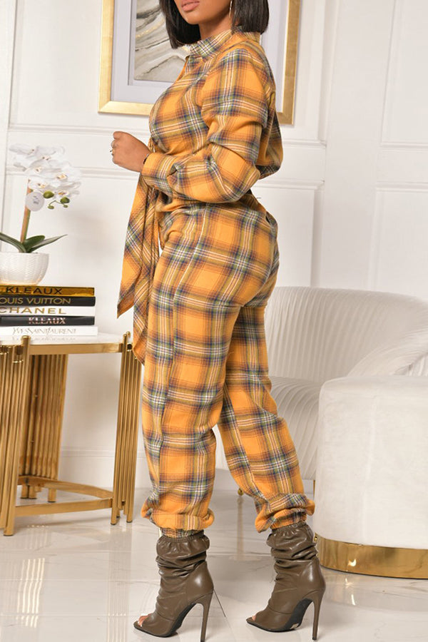 Plaid Print Tie Front Long Sleeve Jumpsuit