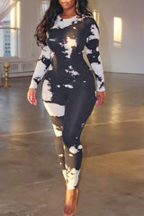 Tie-dye Print Round Neck Long Sleeve Jumpsuit