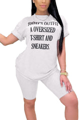 Short Sleeve Letter Printing Two Piece Set
