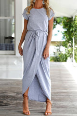 Modishshe Solid Color Casual Maxi Dress
