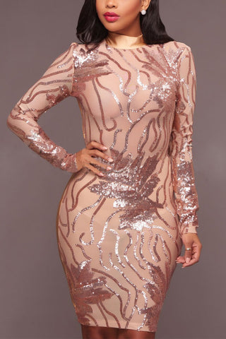 Modishshe Sexy Sequined Sexy Prom Midi Dress