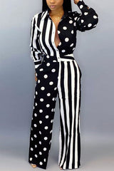 Polka Dot Stripe Stitching Print Jumpsuit