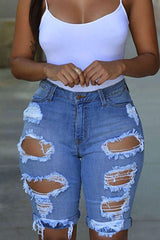3 Colors Broken Hole High Waist Jeans