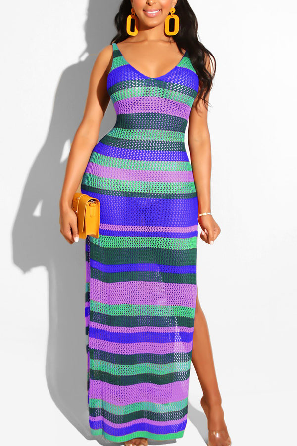 Sexy Cutout Stripe Woolen Knitting Dress