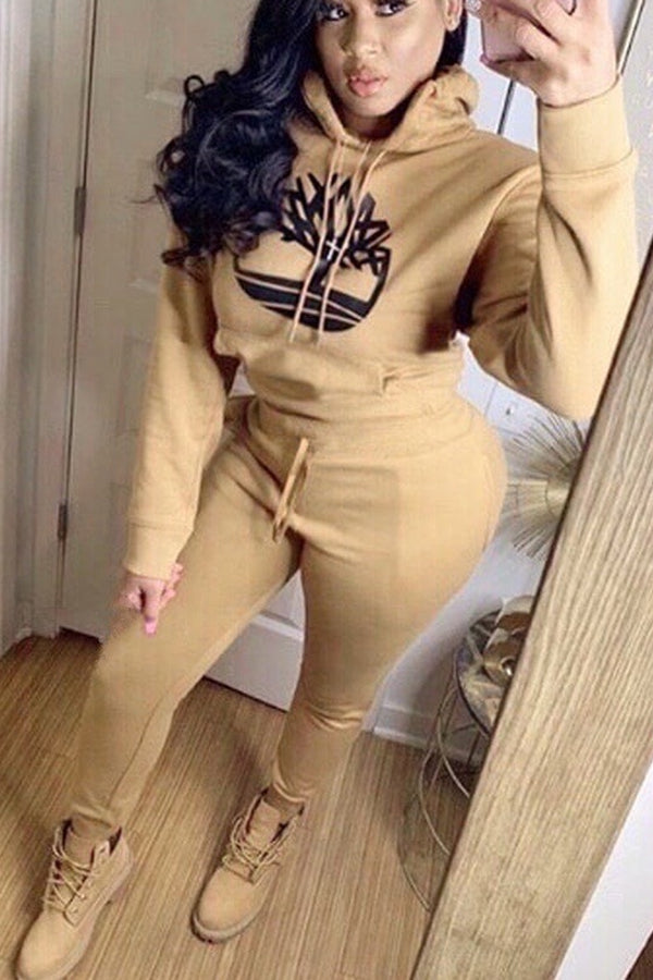 Casual Hooded Collar Khaki Two-piece Pants Set