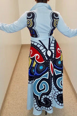 Modishshe Printed Turndown Collar Maxi Dress