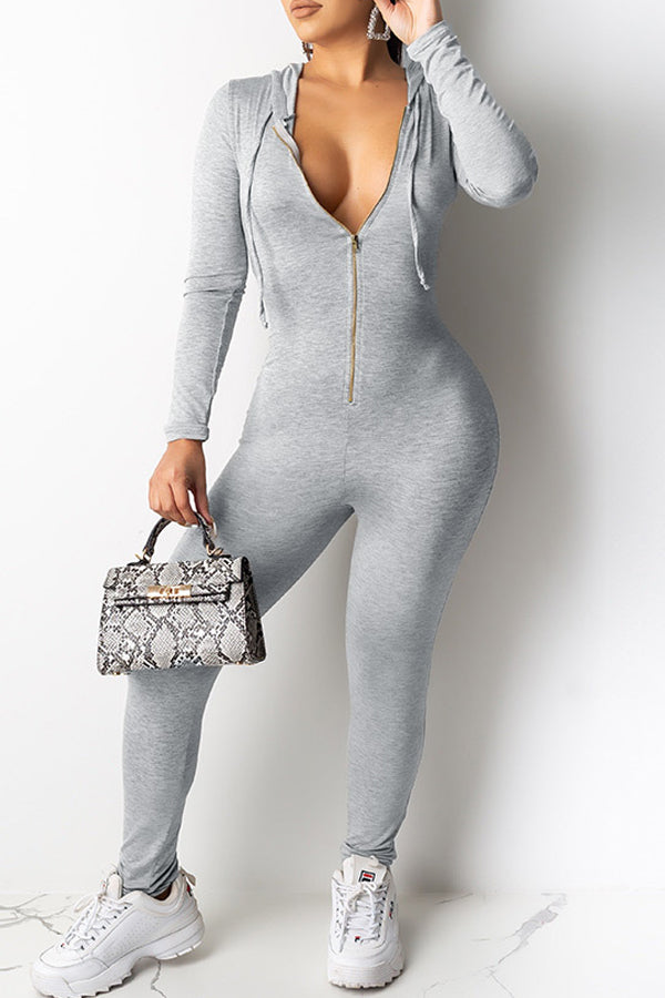 Solid Color Zipper Hooded Long Sleeve Jumpsuit