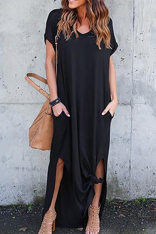 Modishshe See Me Pocket Maxi Casual Dress