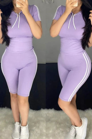 Casual Yoga Hooded Short Sleeve Two-piece Set