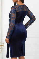 Long Sleeve Patchwork Mesh Embroidered Sequined Midi Dress