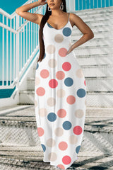 Fashion Polka Dot Print Maxi Dress