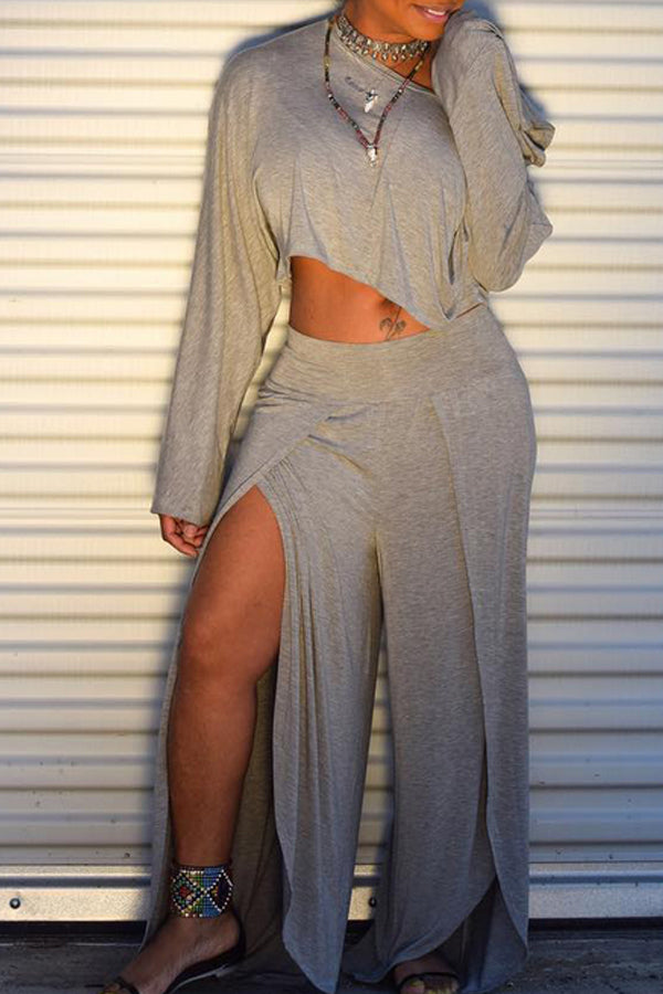 Modishshe One-Shoulder Long Sleeve Two Pieces Pants Set