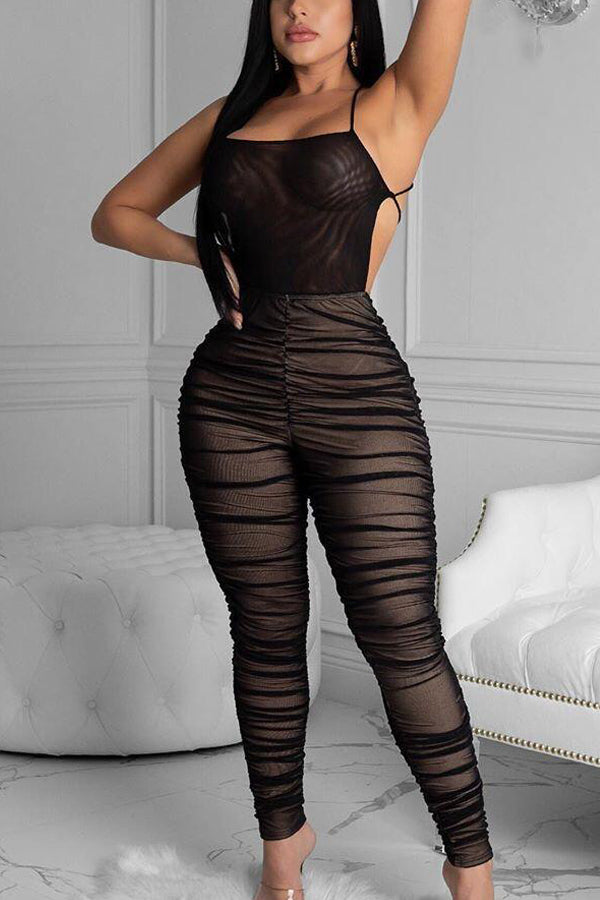 Sexy Mesh Pleated Jumpsuit