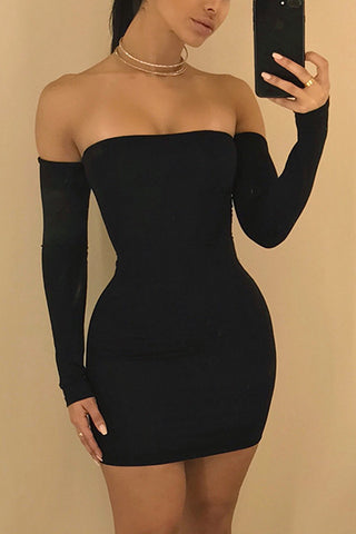 Modishshe Off Shoulder Sexy Bodycon Mini Dress