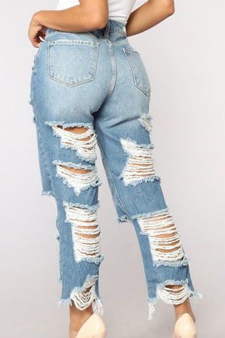 Modishshe Stylish Hollow Out Causal Jeans
