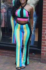 Modishshe Rainbow Stripe Halter Two Pieces