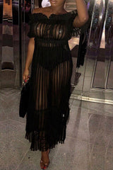 Modishshe Off The Shoulder Semi Sheer Dress