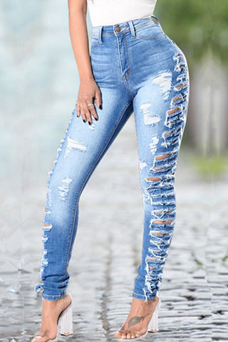 Modishshe Stretch High Waist Ripped Jeans
