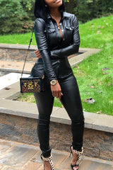 Modishshe PU Leather Black Two Pieces