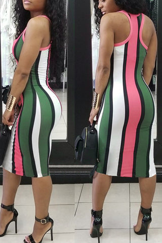 Modishshe Stripe Print V Neck Dress