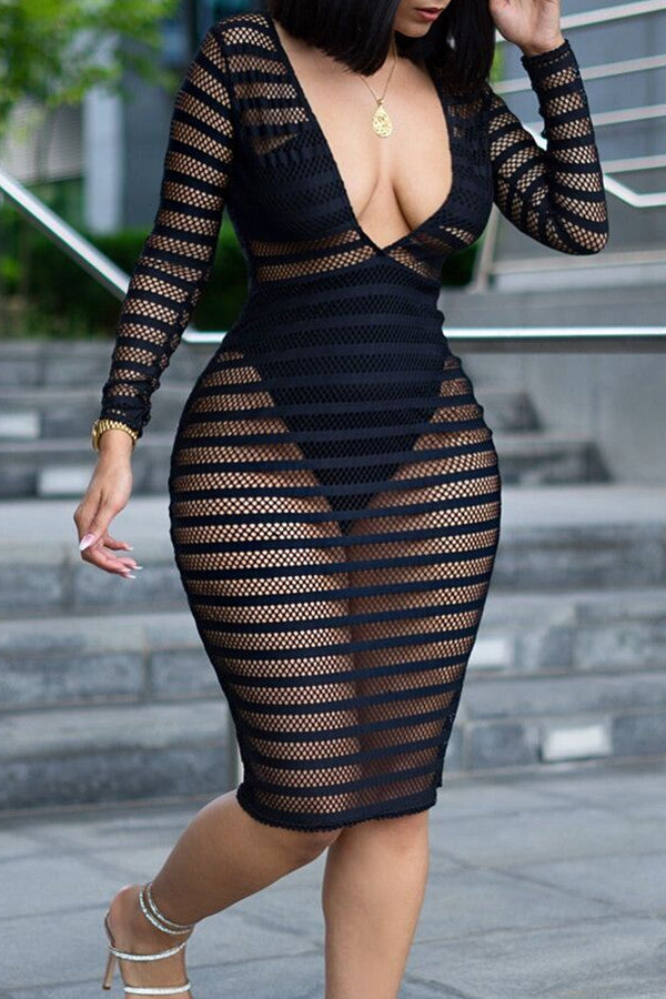 Modishshe V Neck Semi Sheer Dress