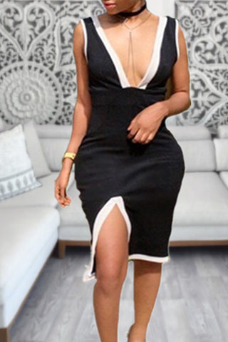 Modishshe V Neck Slit Mini Dress