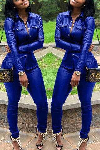 Modishshe PU Leather Blue Two Pieces